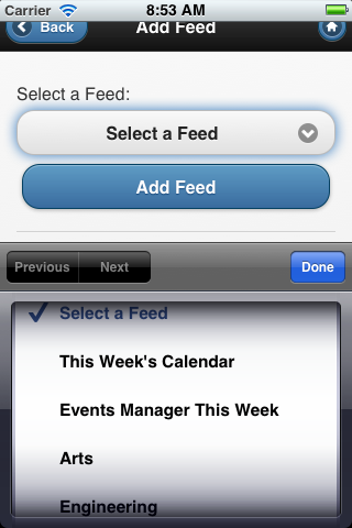 select a feed screen